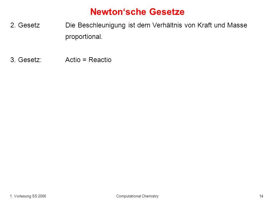1.Vorlesung SS 2006 Computational Chemistry14 Newtonsche Gesetze 2.