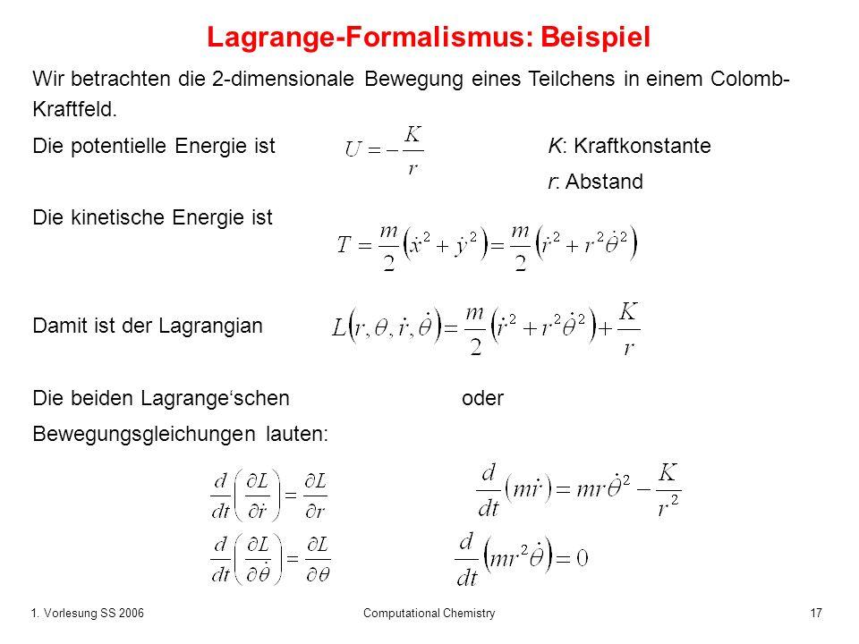 1. Vorlesung SS 2006 Computational Chemistry17 Wir betrachten die 2-dimensionale Bewegung eines Teilchens in einem Colomb- Kraftfeld. Die potentielle