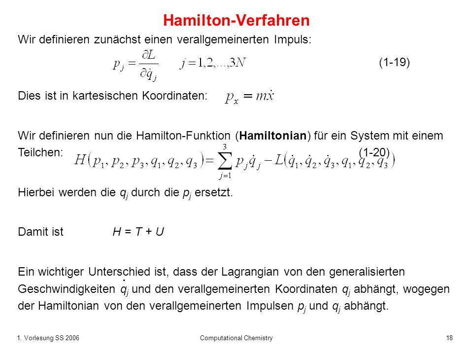 1. Vorlesung SS 2006 Computational Chemistry18 Dies ist in kartesischen Koordinaten: Wir definieren nun die Hamilton-Funktion (Hamiltonian) für ein Sy