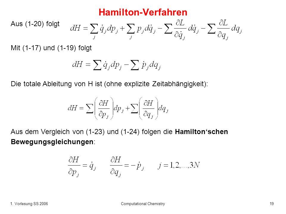 1. Vorlesung SS 2006 Computational Chemistry19 Aus (1-20) folgt Mit (1-17) und (1-19) folgt Die totale Ableitung von H ist (ohne explizite Zeitabhängi
