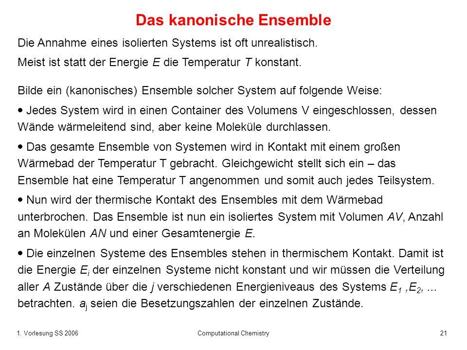 1. Vorlesung SS 2006 Computational Chemistry21 Die Annahme eines isolierten Systems ist oft unrealistisch. Meist ist statt der Energie E die Temperatu