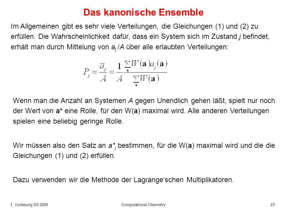 1. Vorlesung SS 2006 Computational Chemistry23 Das kanonische Ensemble Im Allgemeinen gibt es sehr viele Verteilungen, die Gleichungen (1) und (2) zu