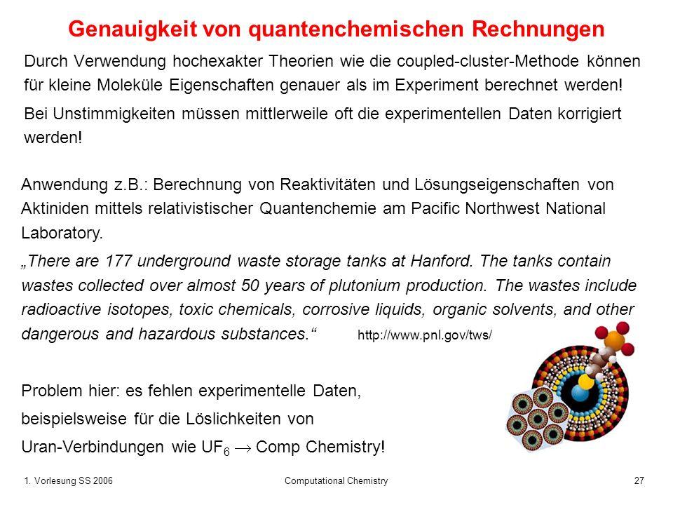 1. Vorlesung SS 2006 Computational Chemistry27 Genauigkeit von quantenchemischen Rechnungen Durch Verwendung hochexakter Theorien wie die coupled-clus