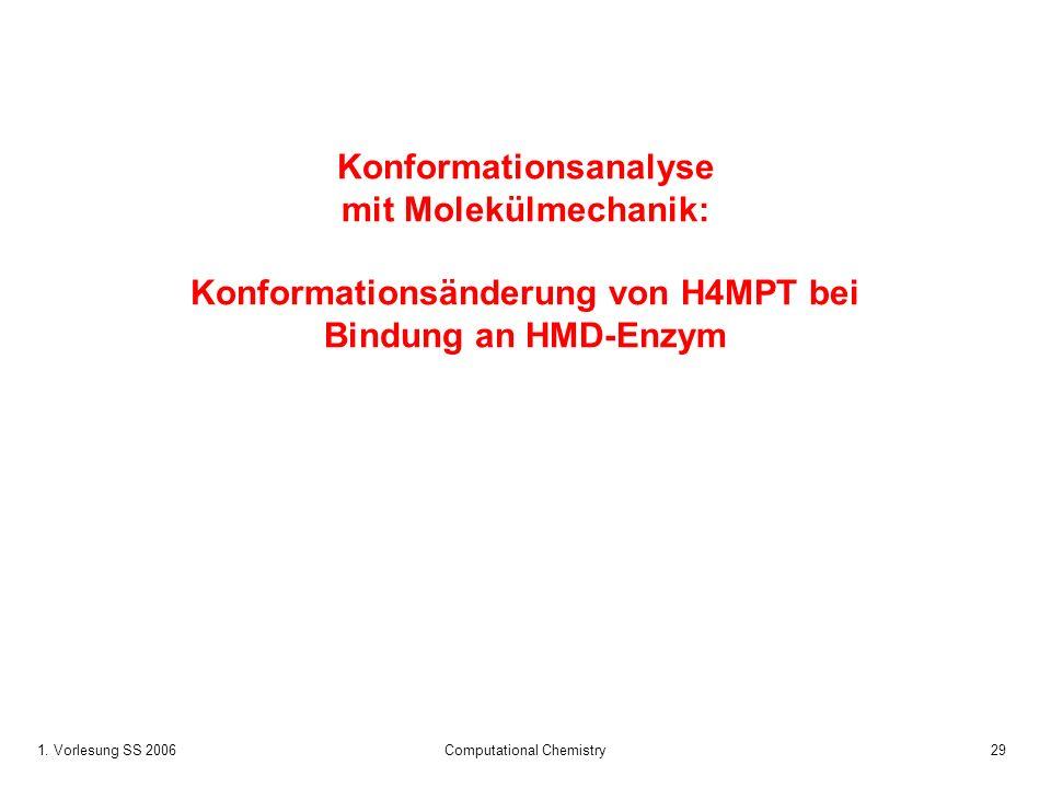 1. Vorlesung SS 2006 Computational Chemistry29 Konformationsanalyse mit Molekülmechanik: Konformationsänderung von H4MPT bei Bindung an HMD-Enzym