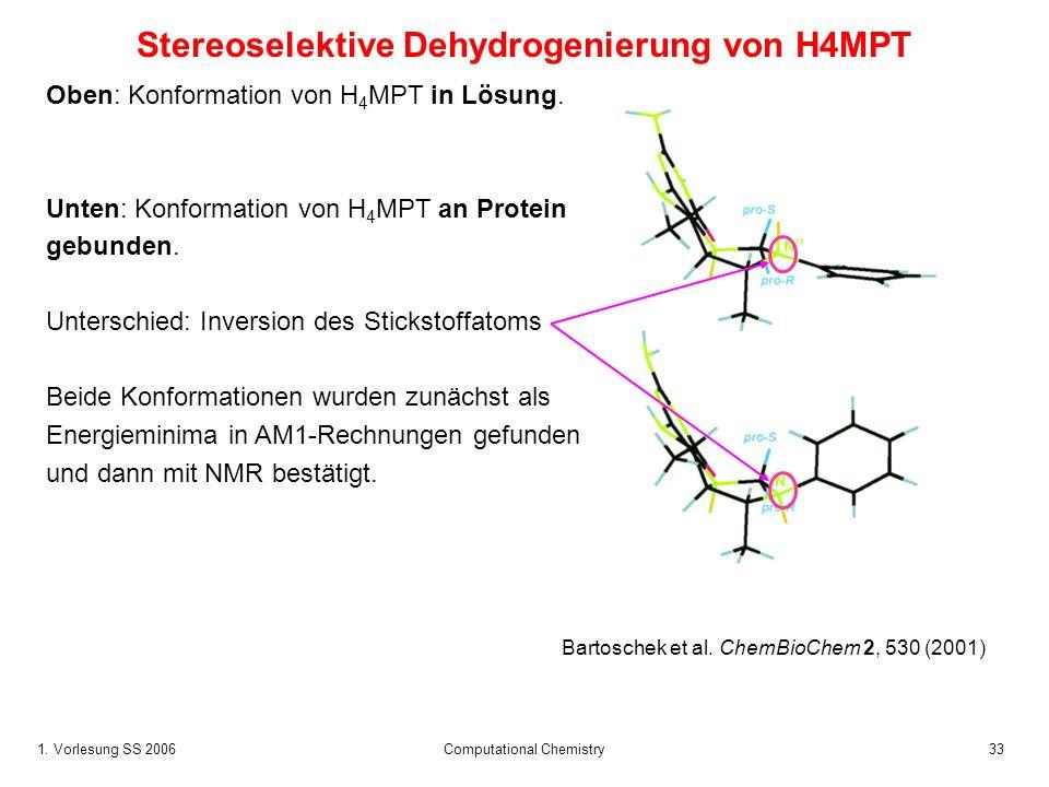 1. Vorlesung SS 2006 Computational Chemistry33 Stereoselektive Dehydrogenierung von H4MPT Oben: Konformation von H 4 MPT in Lösung. Unten: Konformatio