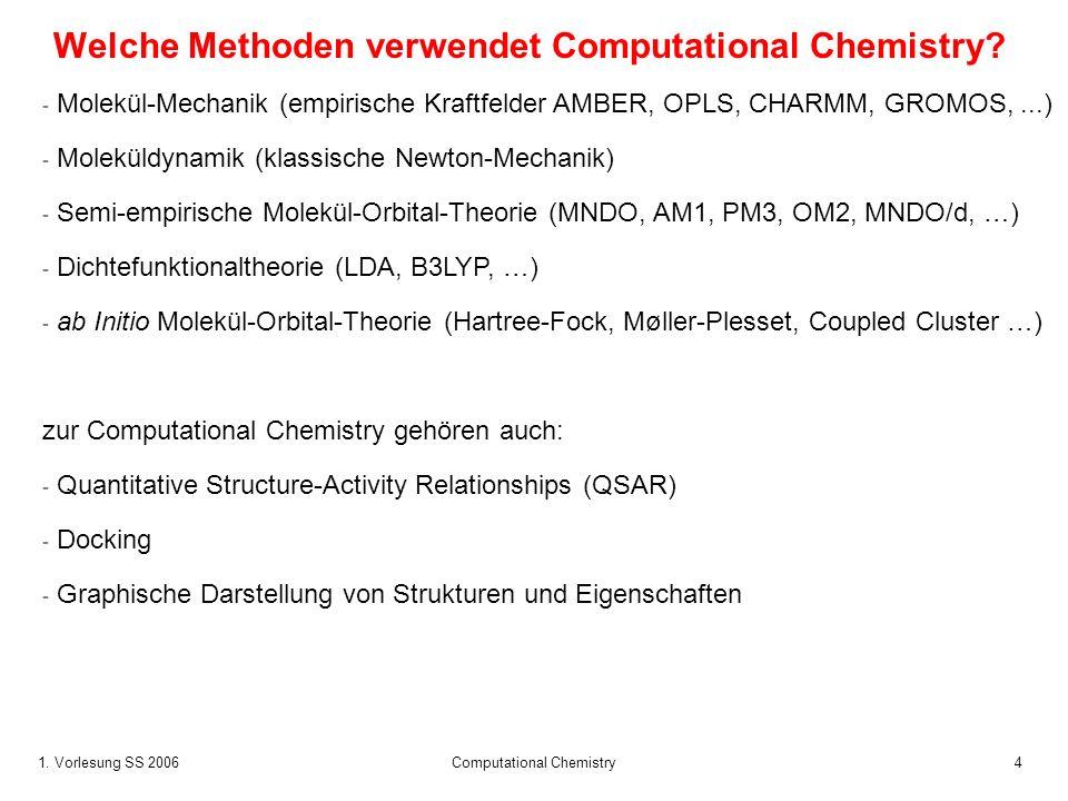 1.Vorlesung SS 2006 Computational Chemistry25 Was kann man mit Computational Chemistry berechnen.
