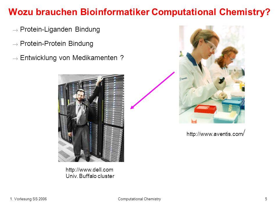 1. Vorlesung SS 2006 Computational Chemistry5 Wozu brauchen Bioinformatiker Computational Chemistry? Protein-Liganden Bindung Protein-Protein Bindung