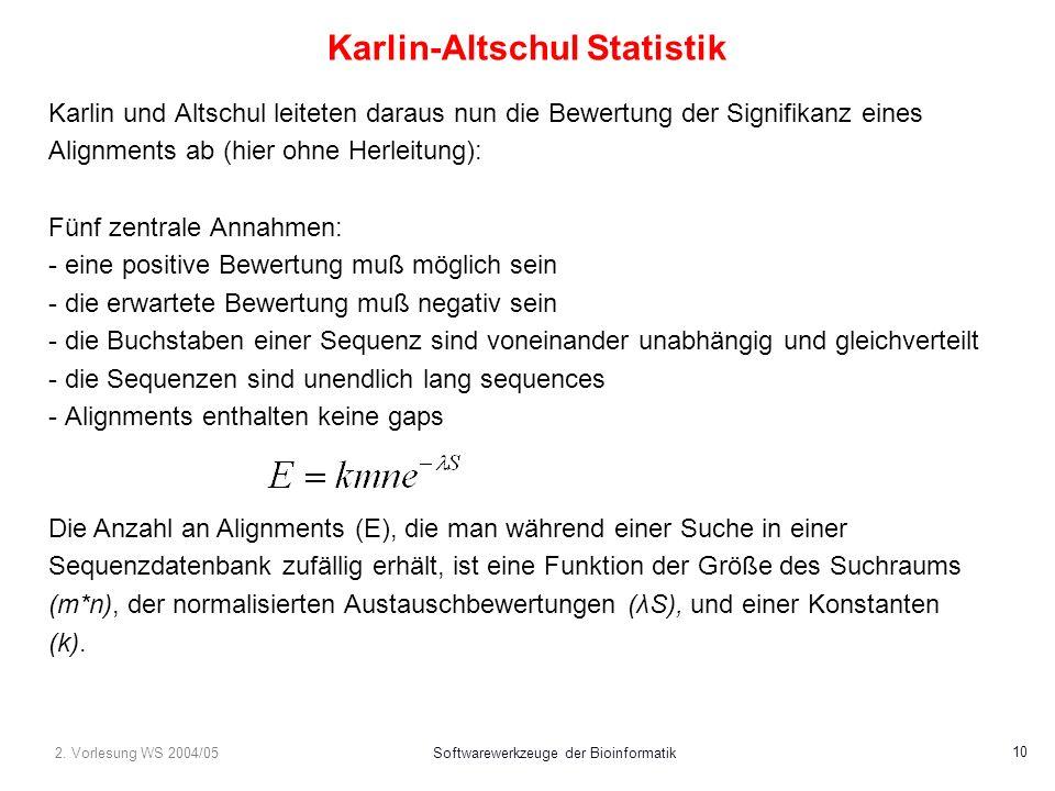 2. Vorlesung WS 2004/05Softwarewerkzeuge der Bioinformatik 10 Karlin-Altschul Statistik Karlin und Altschul leiteten daraus nun die Bewertung der Sign