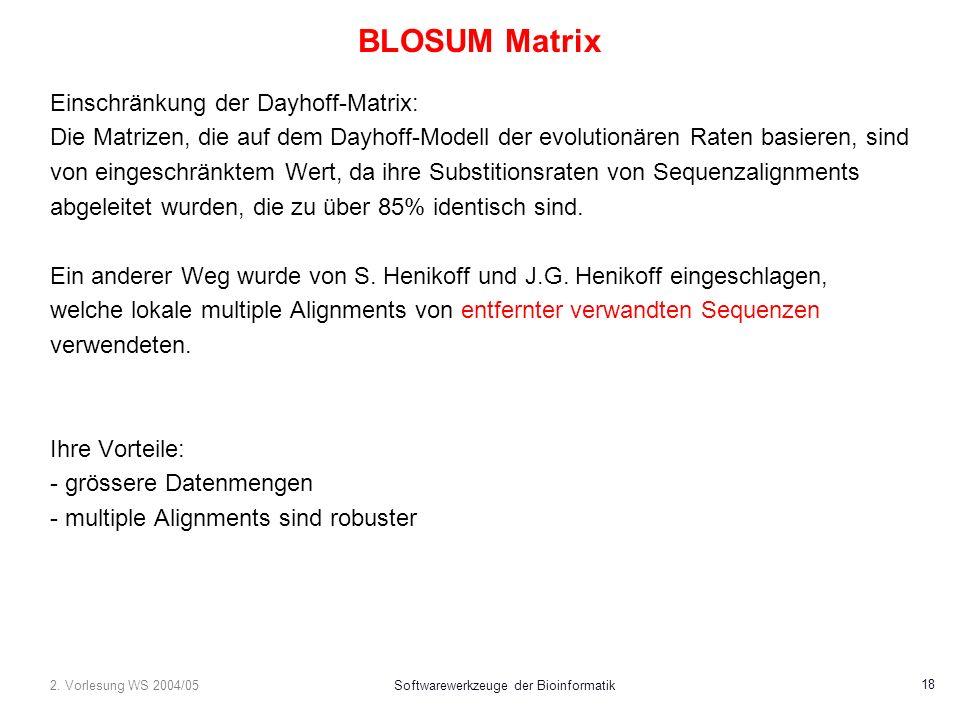 2. Vorlesung WS 2004/05Softwarewerkzeuge der Bioinformatik 18 BLOSUM Matrix Einschränkung der Dayhoff-Matrix: Die Matrizen, die auf dem Dayhoff-Modell