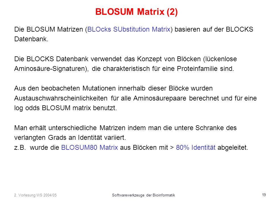 2. Vorlesung WS 2004/05Softwarewerkzeuge der Bioinformatik 19 BLOSUM Matrix (2) Die BLOSUM Matrizen (BLOcks SUbstitution Matrix) basieren auf der BLOC