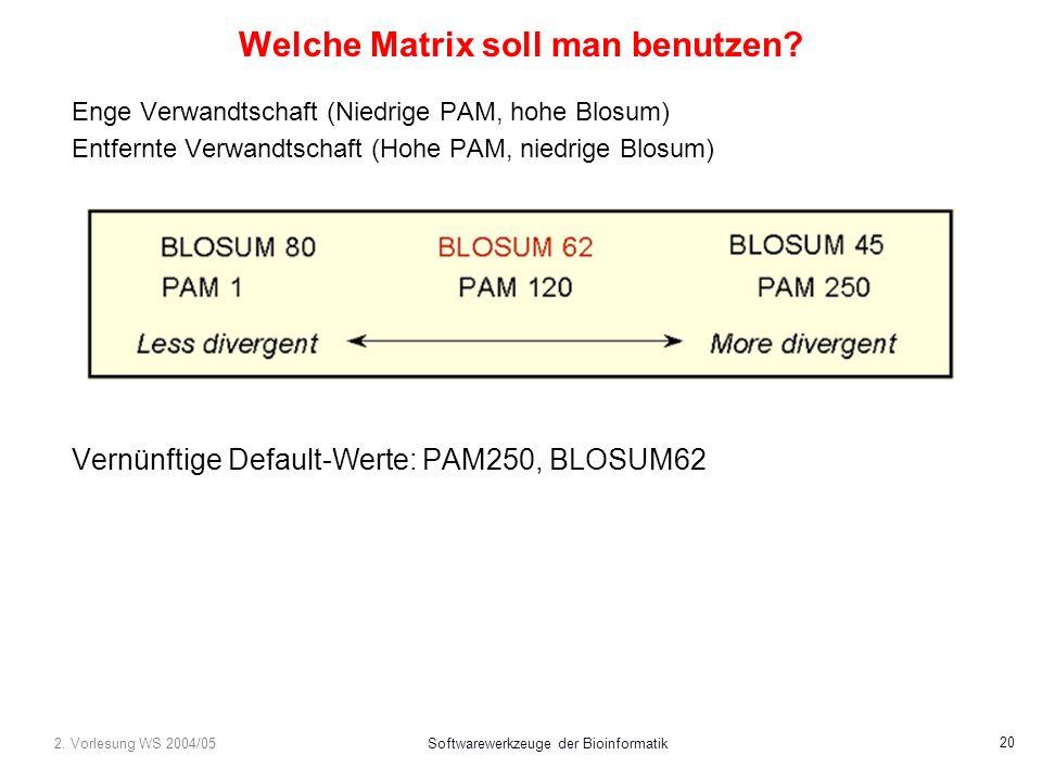 2. Vorlesung WS 2004/05Softwarewerkzeuge der Bioinformatik 20 Welche Matrix soll man benutzen.