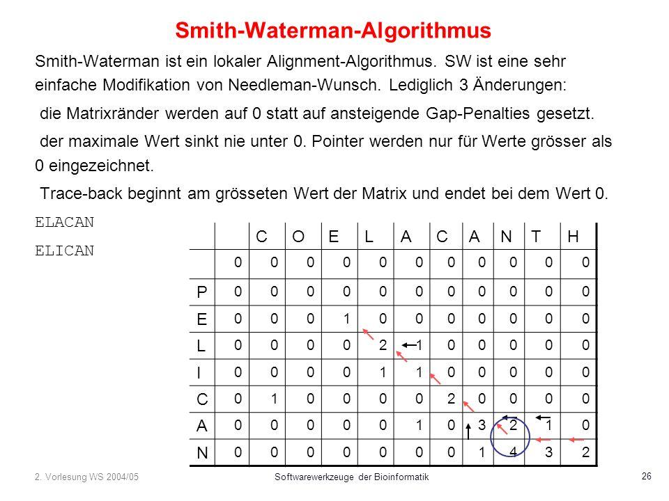 2. Vorlesung WS 2004/05Softwarewerkzeuge der Bioinformatik 26 Smith-Waterman-Algorithmus Smith-Waterman ist ein lokaler Alignment-Algorithmus. SW ist