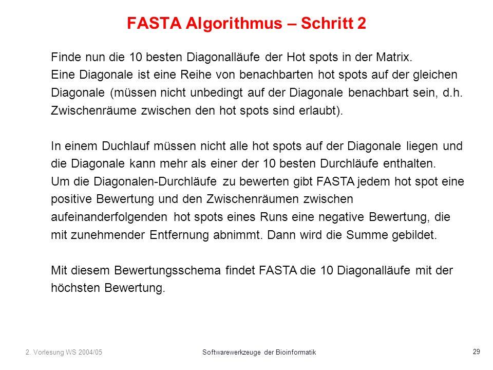 2. Vorlesung WS 2004/05Softwarewerkzeuge der Bioinformatik 29 FASTA Algorithmus – Schritt 2 Finde nun die 10 besten Diagonalläufe der Hot spots in der