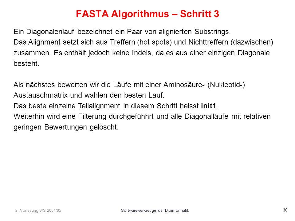 2. Vorlesung WS 2004/05Softwarewerkzeuge der Bioinformatik 30 FASTA Algorithmus – Schritt 3 Ein Diagonalenlauf bezeichnet ein Paar von alignierten Sub