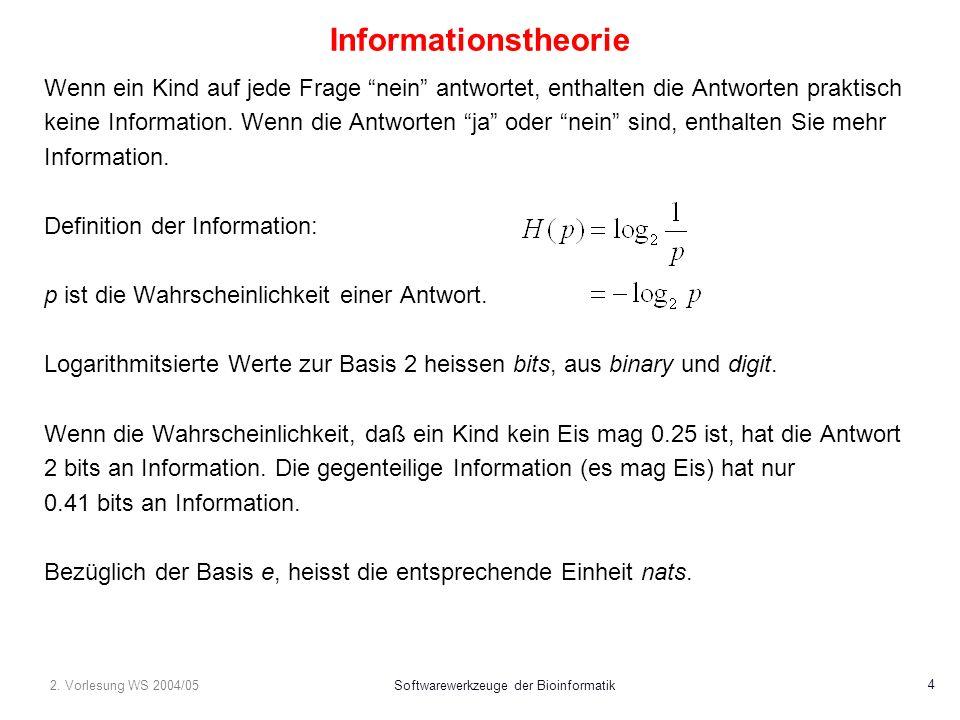 2. Vorlesung WS 2004/05Softwarewerkzeuge der Bioinformatik 4 Informationstheorie Wenn ein Kind auf jede Frage nein antwortet, enthalten die Antworten