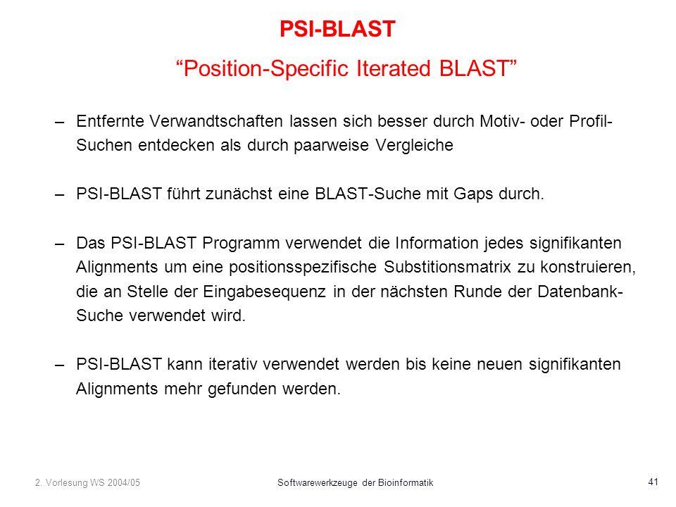 2. Vorlesung WS 2004/05Softwarewerkzeuge der Bioinformatik 41 PSI-BLAST Position-Specific Iterated BLAST –Entfernte Verwandtschaften lassen sich besse