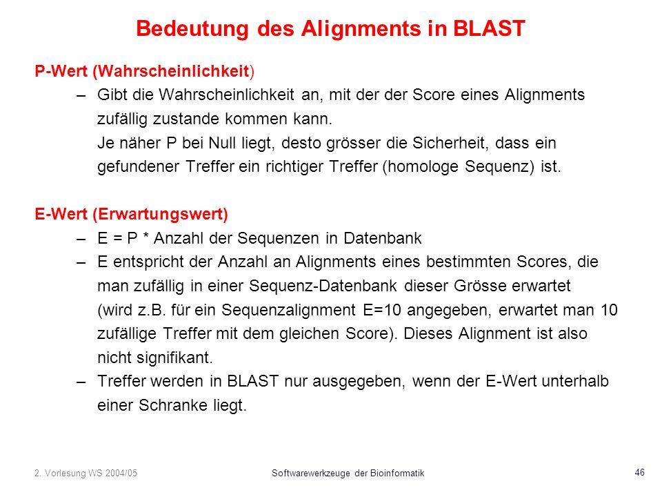 2. Vorlesung WS 2004/05Softwarewerkzeuge der Bioinformatik 46 Bedeutung des Alignments in BLAST P-Wert (Wahrscheinlichkeit) –Gibt die Wahrscheinlichke