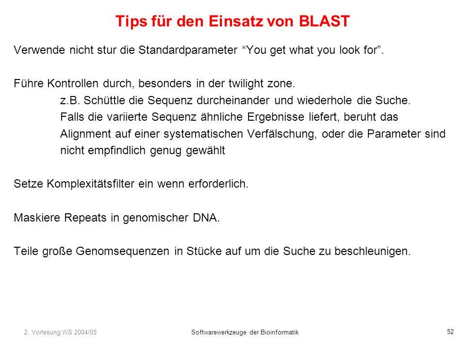 2. Vorlesung WS 2004/05Softwarewerkzeuge der Bioinformatik 52 Tips für den Einsatz von BLAST Verwende nicht stur die Standardparameter You get what yo