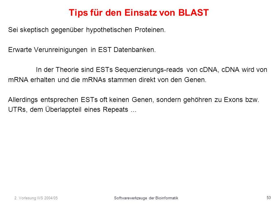 2. Vorlesung WS 2004/05Softwarewerkzeuge der Bioinformatik 53 Tips für den Einsatz von BLAST Sei skeptisch gegenüber hypothetischen Proteinen. Erwarte
