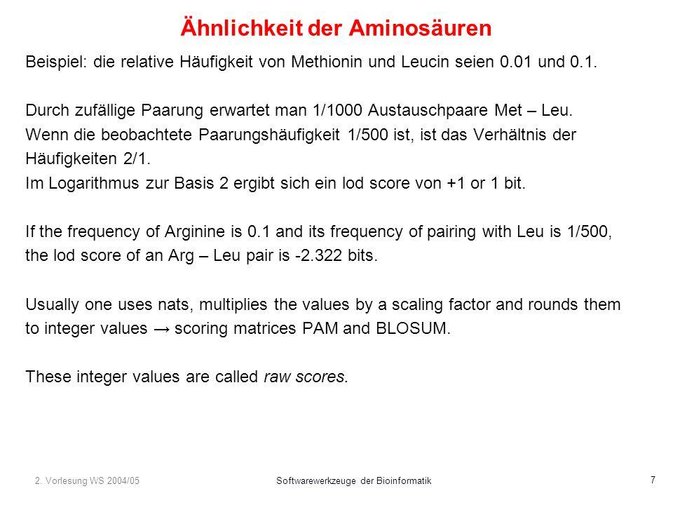 2. Vorlesung WS 2004/05Softwarewerkzeuge der Bioinformatik 7 Ähnlichkeit der Aminosäuren Beispiel: die relative Häufigkeit von Methionin und Leucin se