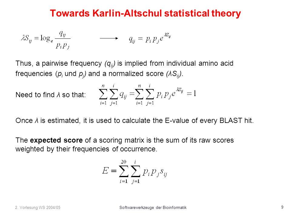 2. Vorlesung WS 2004/05Softwarewerkzeuge der Bioinformatik 9 Towards Karlin-Altschul statistical theory Thus, a pairwise frequency (q ij ) is implied