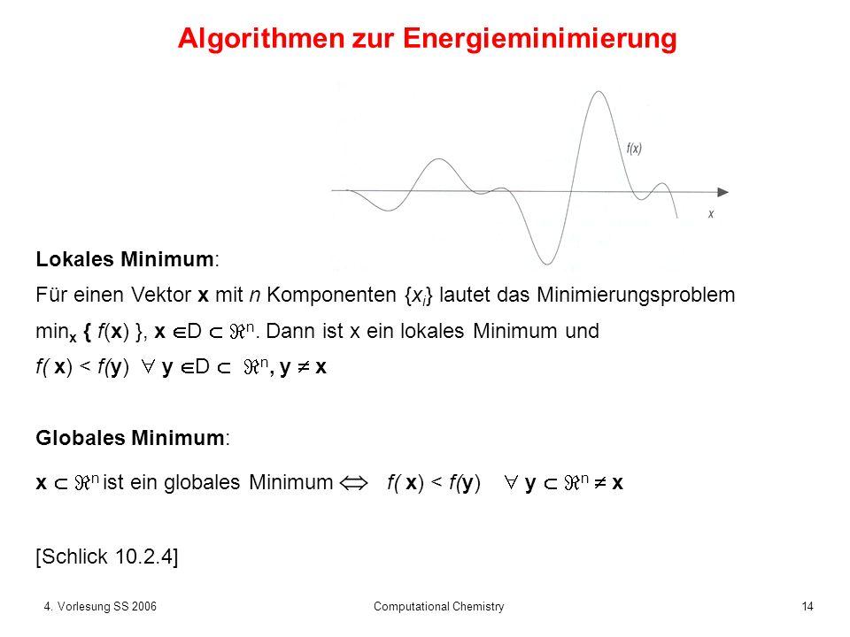 154.Vorlesung SS 2006 Computational Chemistry Methode, die nur die Energiewerte verwendet...