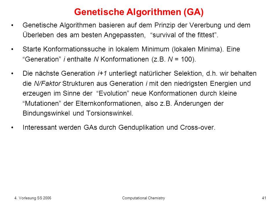 424.Vorlesung SS 2006 Computational Chemistry Genetische Algorithmen (GA) Bsp.