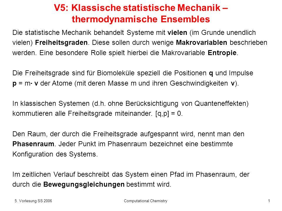 15. Vorlesung SS 2006 Computational Chemistry V5: Klassische statistische Mechanik – thermodynamische Ensembles Die statistische Mechanik behandelt Sy