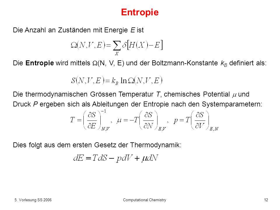 125. Vorlesung SS 2006 Computational Chemistry Entropie Die Anzahl an Zuständen mit Energie E ist Die Entropie wird mittels (N, V, E) und der Boltzman