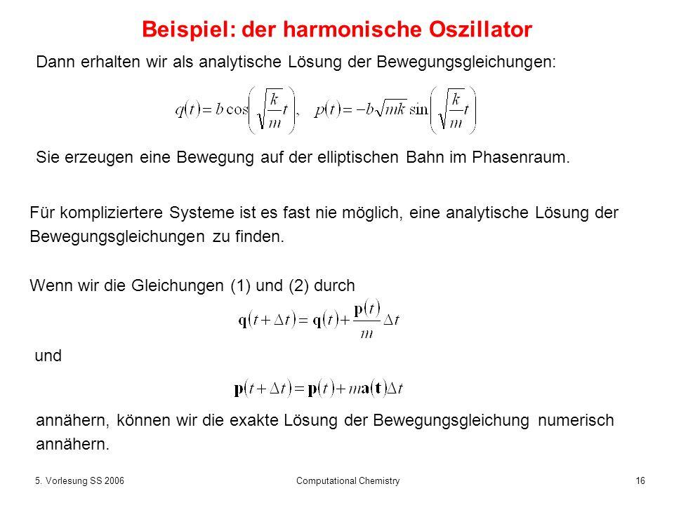 165. Vorlesung SS 2006 Computational Chemistry Beispiel: der harmonische Oszillator Für kompliziertere Systeme ist es fast nie möglich, eine analytisc