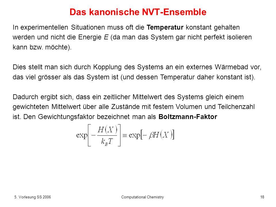 185. Vorlesung SS 2006 Computational Chemistry Das kanonische NVT-Ensemble In experimentellen Situationen muss oft die Temperatur konstant gehalten we