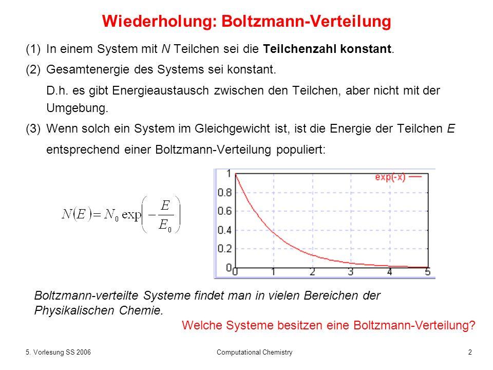 25. Vorlesung SS 2006 Computational Chemistry Wiederholung: Boltzmann-Verteilung (1)In einem System mit N Teilchen sei die Teilchenzahl konstant. (2)G
