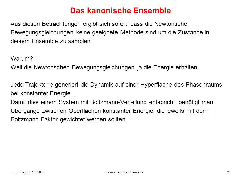205. Vorlesung SS 2006 Computational Chemistry Das kanonische Ensemble Aus diesen Betrachtungen ergibt sich sofort, dass die Newtonsche Bewegungsgleic