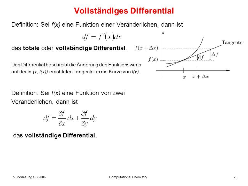 235. Vorlesung SS 2006 Computational Chemistry Vollständiges Differential Definition: Sei f(x) eine Funktion einer Veränderlichen, dann ist das totale