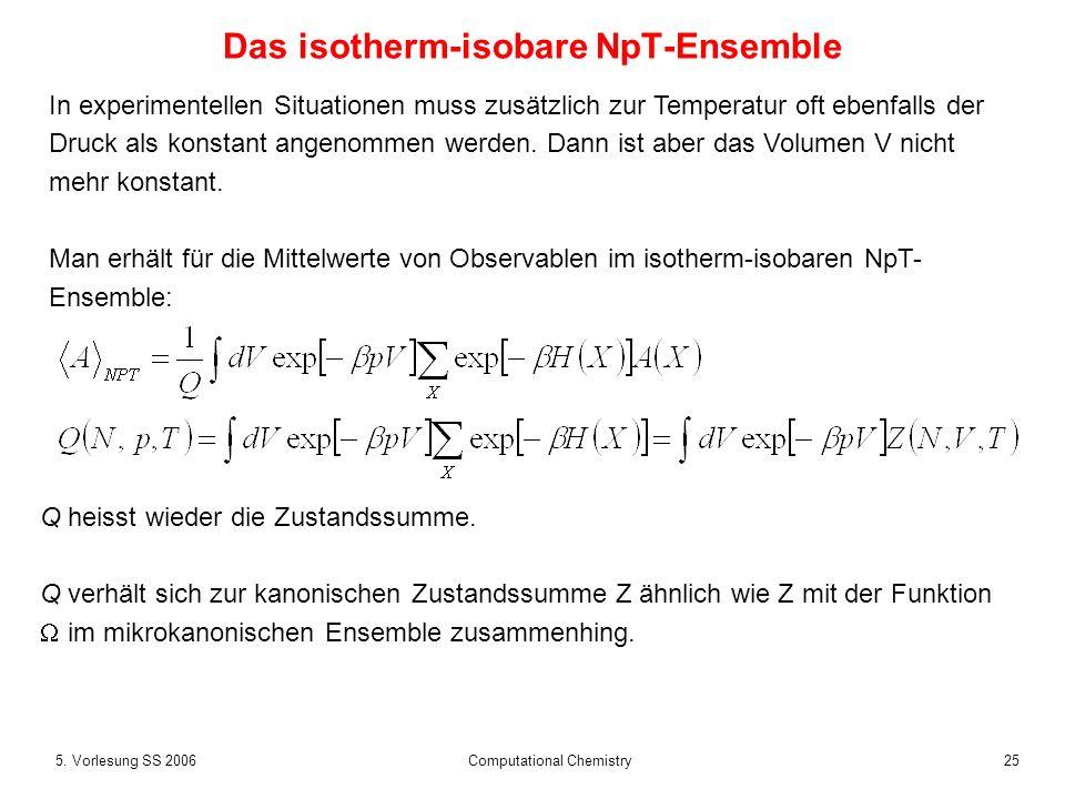 255. Vorlesung SS 2006 Computational Chemistry Das isotherm-isobare NpT-Ensemble In experimentellen Situationen muss zusätzlich zur Temperatur oft ebe