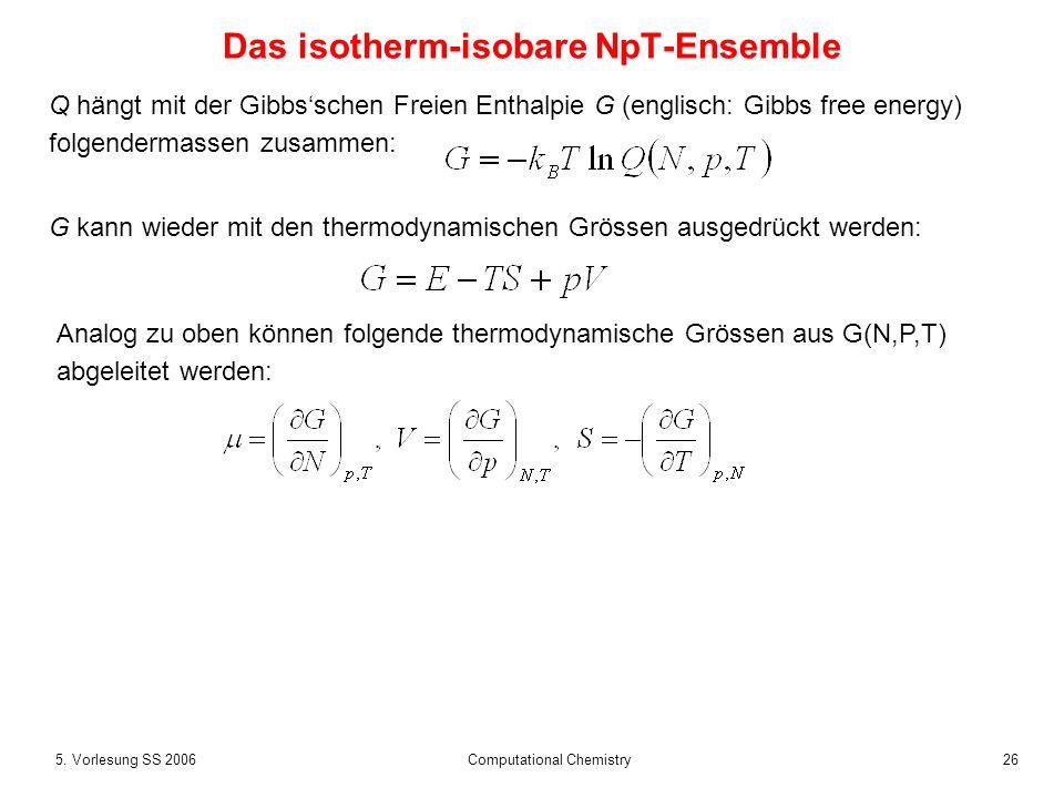 265. Vorlesung SS 2006 Computational Chemistry Das isotherm-isobare NpT-Ensemble Q hängt mit der Gibbsschen Freien Enthalpie G (englisch: Gibbs free e
