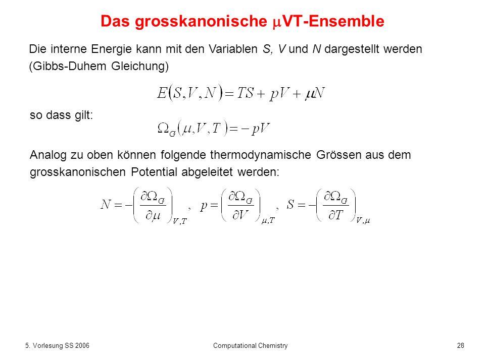 285. Vorlesung SS 2006 Computational Chemistry Das grosskanonische VT-Ensemble Die interne Energie kann mit den Variablen S, V und N dargestellt werde