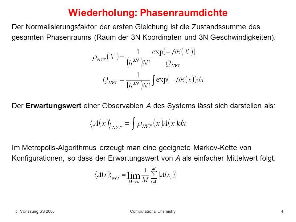 45. Vorlesung SS 2006 Computational Chemistry Wiederholung: Phasenraumdichte Der Normalisierungsfaktor der ersten Gleichung ist die Zustandssumme des