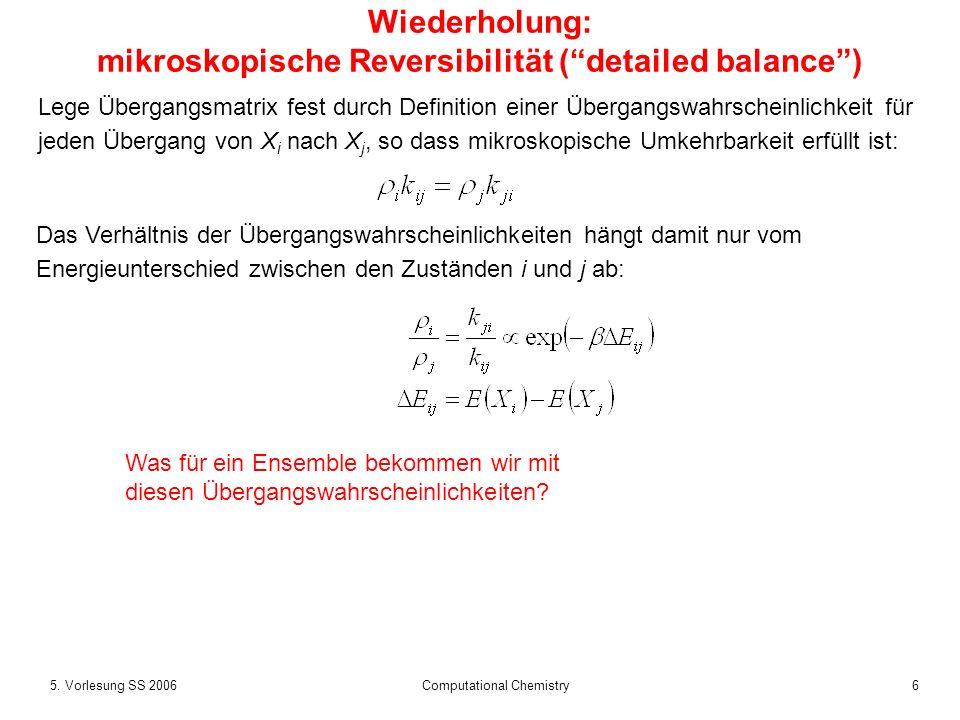 65. Vorlesung SS 2006 Computational Chemistry Wiederholung: mikroskopische Reversibilität (detailed balance) Lege Übergangsmatrix fest durch Definitio