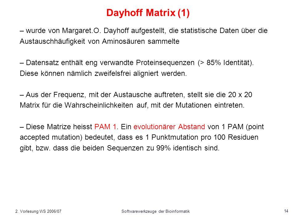 2. Vorlesung WS 2006/07Softwarewerkzeuge der Bioinformatik 14 Dayhoff Matrix (1) – wurde von Margaret.O. Dayhoff aufgestellt, die statistische Daten ü
