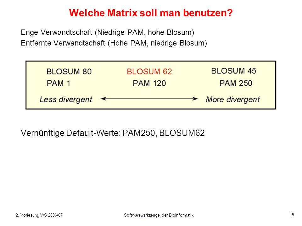 2. Vorlesung WS 2006/07Softwarewerkzeuge der Bioinformatik 19 Welche Matrix soll man benutzen? Enge Verwandtschaft (Niedrige PAM, hohe Blosum) Entfern