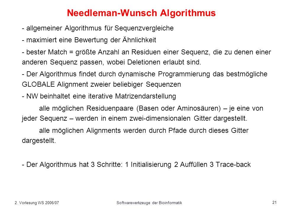 2. Vorlesung WS 2006/07Softwarewerkzeuge der Bioinformatik 21 Needleman-Wunsch Algorithmus - allgemeiner Algorithmus für Sequenzvergleiche - maximiert