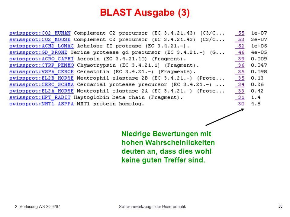 2. Vorlesung WS 2006/07Softwarewerkzeuge der Bioinformatik 38 Niedrige Bewertungen mit hohen Wahrscheinlickeiten deuten an, dass dies wohl keine guten