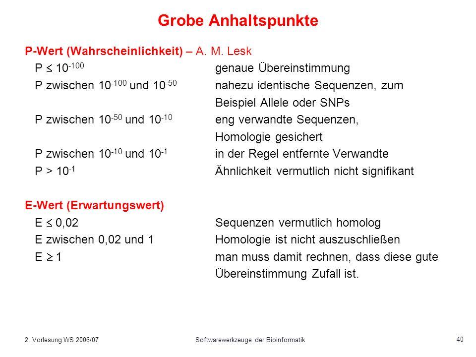 2. Vorlesung WS 2006/07Softwarewerkzeuge der Bioinformatik 40 Grobe Anhaltspunkte P-Wert (Wahrscheinlichkeit) – A. M. Lesk P 10 -100 genaue Übereinsti