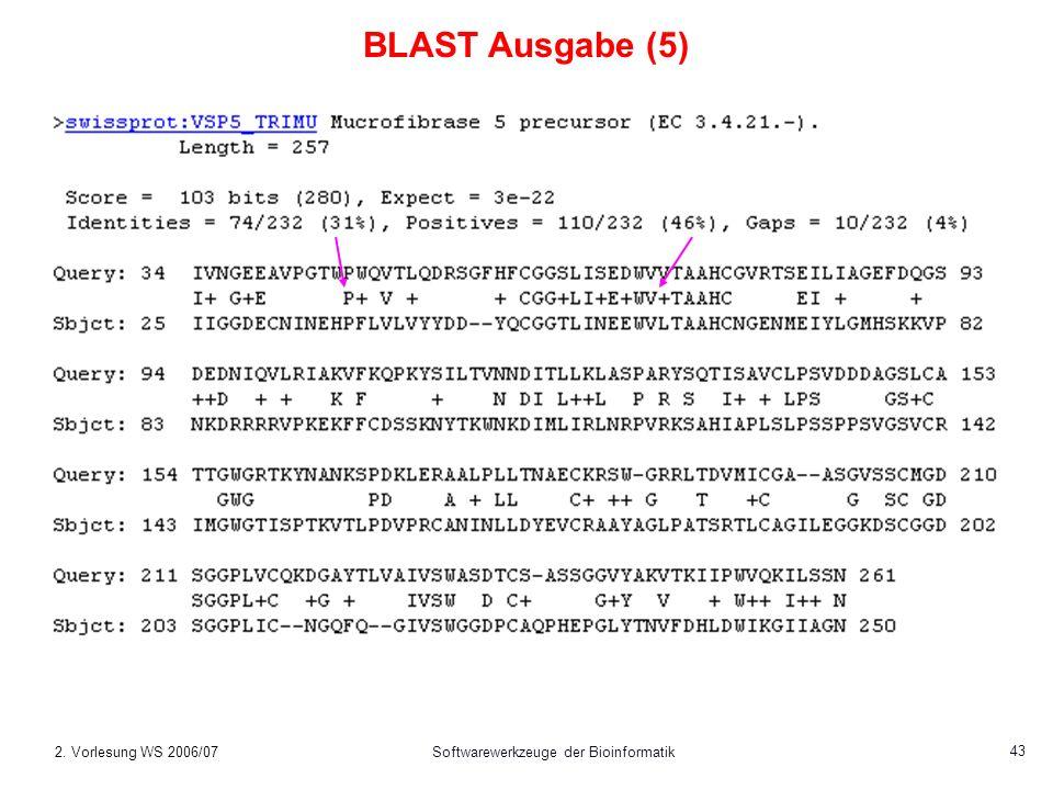 2. Vorlesung WS 2006/07Softwarewerkzeuge der Bioinformatik 43 BLAST Ausgabe (5)