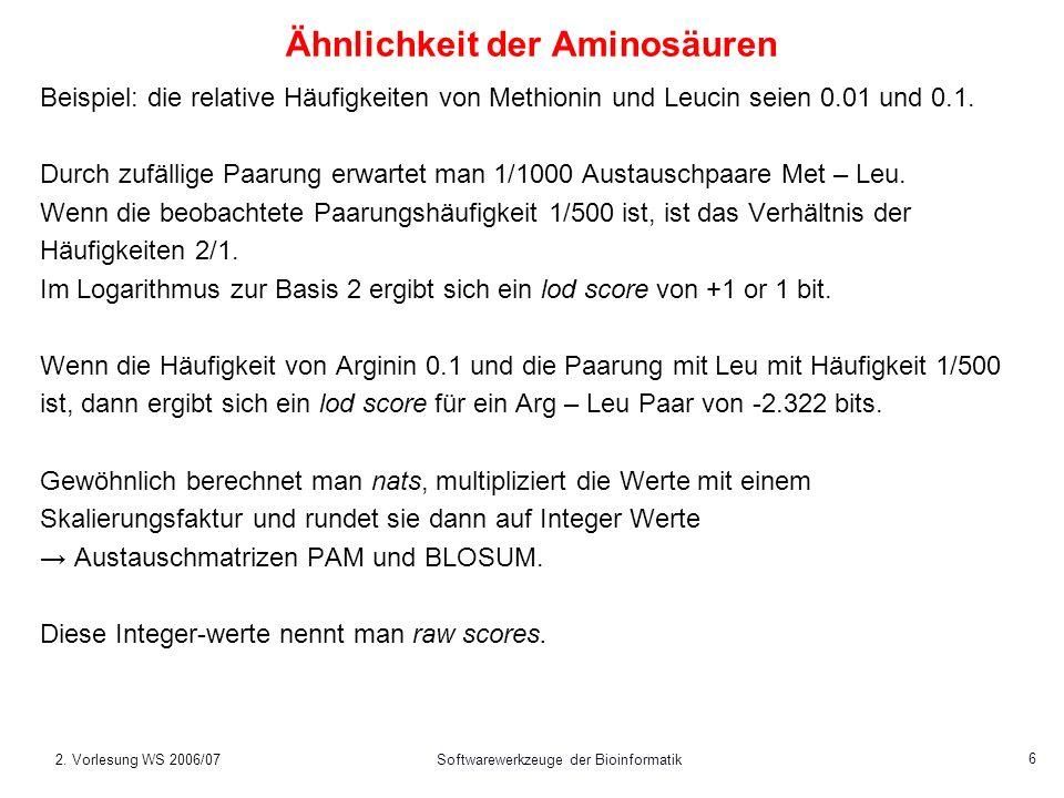 2. Vorlesung WS 2006/07Softwarewerkzeuge der Bioinformatik 6 Ähnlichkeit der Aminosäuren Beispiel: die relative Häufigkeiten von Methionin und Leucin