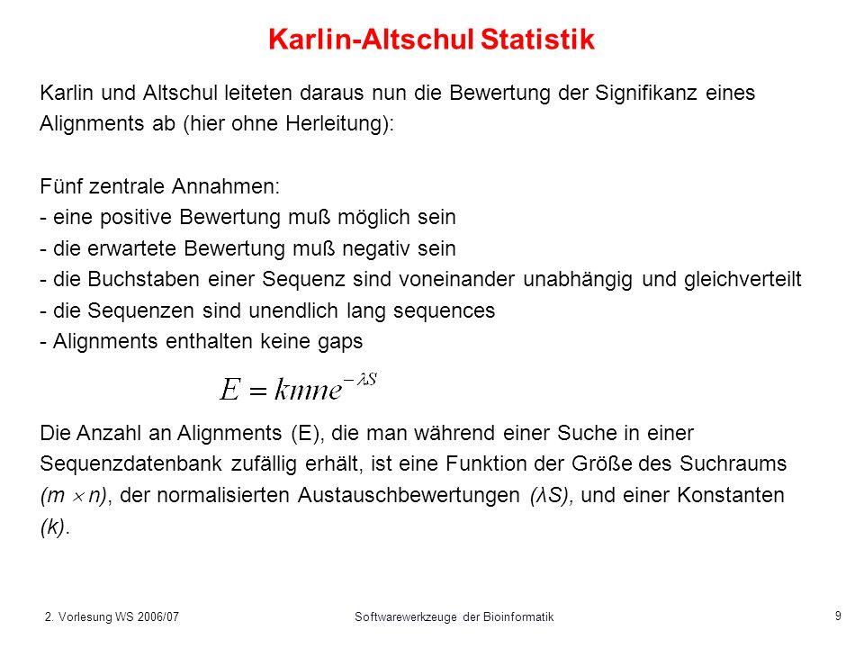 2. Vorlesung WS 2006/07Softwarewerkzeuge der Bioinformatik 9 Karlin-Altschul Statistik Karlin und Altschul leiteten daraus nun die Bewertung der Signi