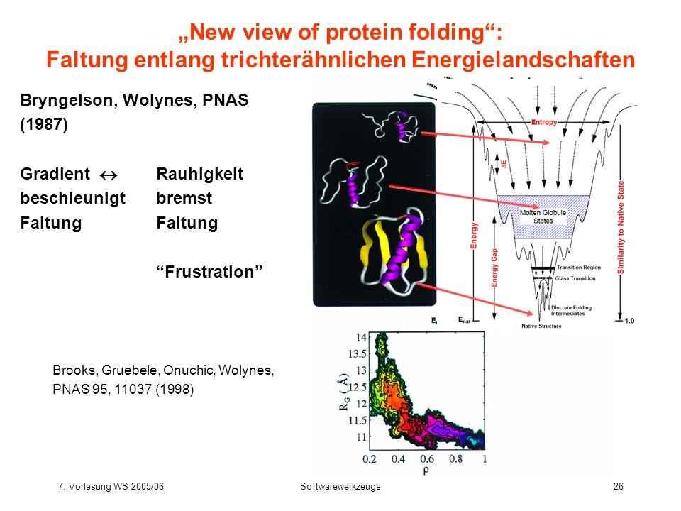7. Vorlesung WS 2005/06Softwarewerkzeuge26 Bryngelson, Wolynes, PNAS (1987) Gradient Rauhigkeit beschleunigtbremstFaltung Frustration New view of prot
