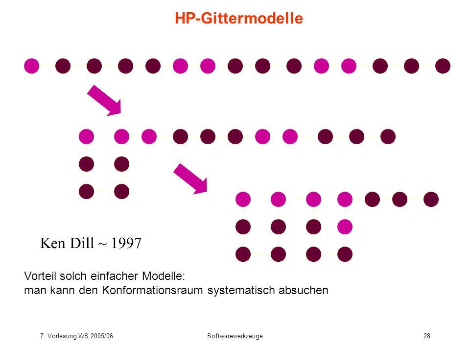 7. Vorlesung WS 2005/06Softwarewerkzeuge28 HP-Gittermodelle Ken Dill ~ 1997 Vorteil solch einfacher Modelle: man kann den Konformationsraum systematis