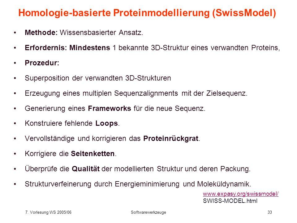 7. Vorlesung WS 2005/06Softwarewerkzeuge33 Homologie-basierte Proteinmodellierung (SwissModel) Methode: Wissensbasierter Ansatz. Erfordernis: Mindeste